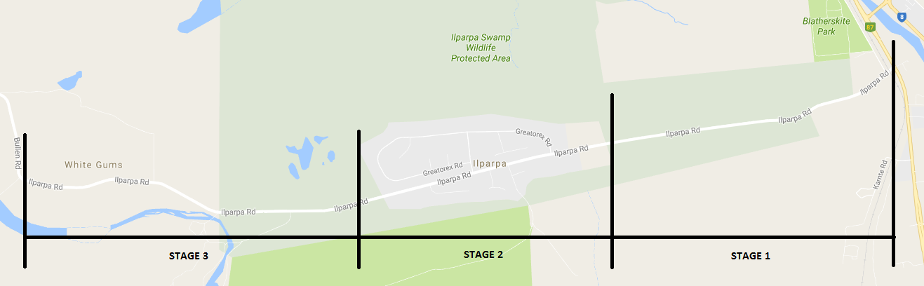 Diagram of the three Ilparpa Road Project stages.