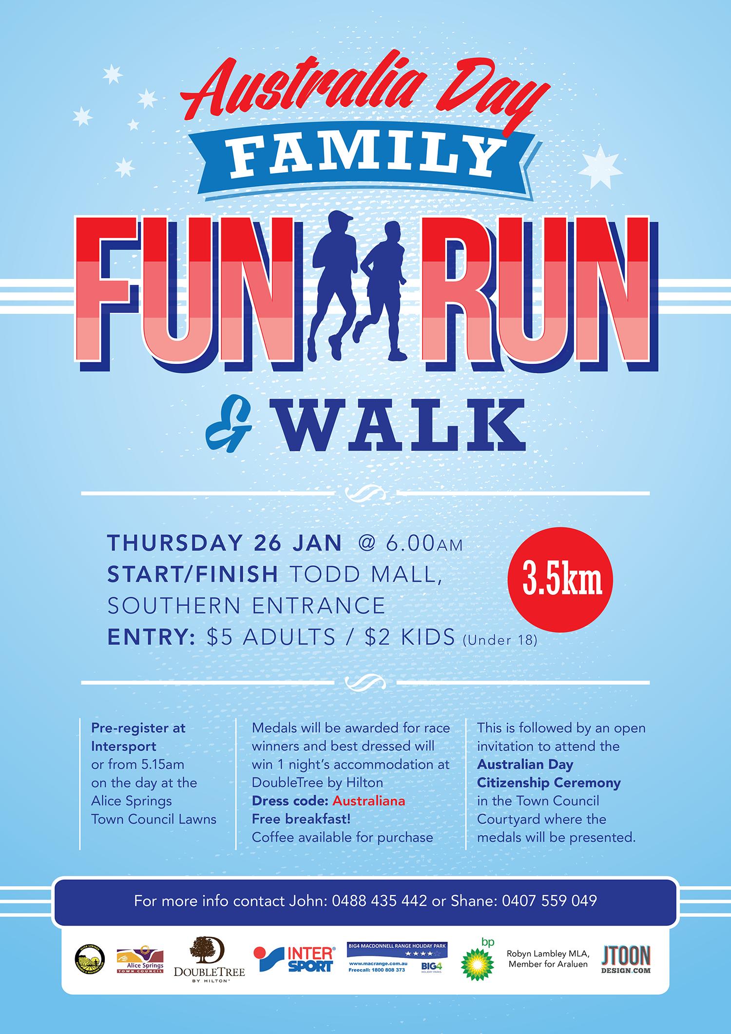 australia day family fun run  u0026 walk  26th jan 2017