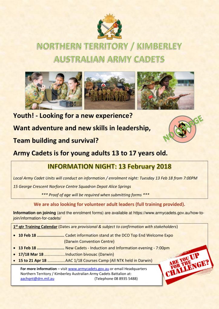 Army Cadets Information Night (13th Feb 2018) · Alice